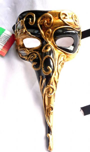 Genuine Venetian Black and Gold Long Nose Mask